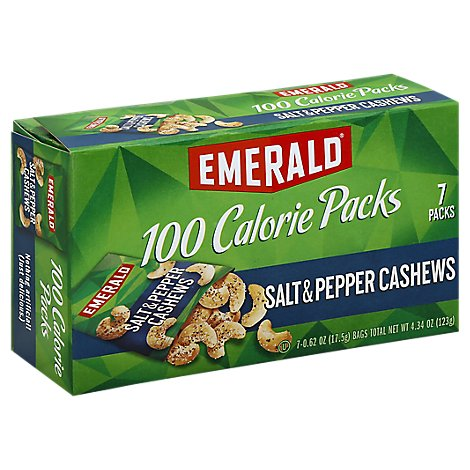 Emerald 100 Calorie Packs Cashews Salt & Pepper - 7-0 .62 Oz