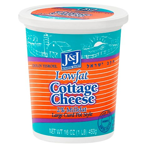 J&J Cottage Cheese Lowfat Large Curd Pot Style - 16 Oz