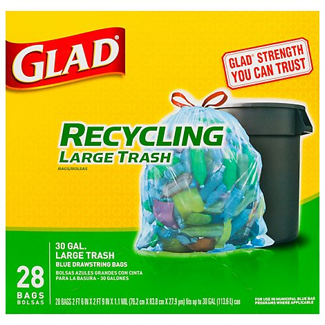 Glad Recycling Trash Drawstring Translucent Blue 30 Gallon - 28 Count