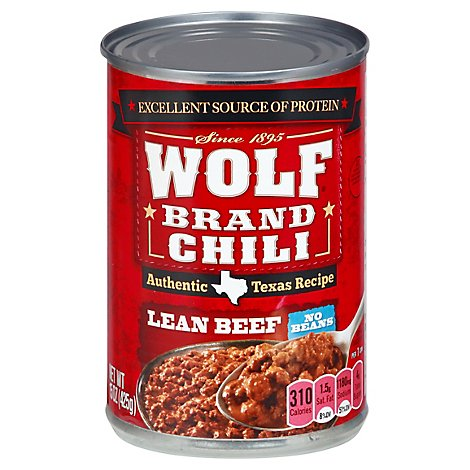 Wolf Brand Chili No Beans Lean Beef - 15 Oz