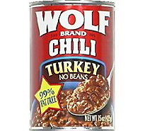 Wolf Brand Chili No Beans Turkey 96% Fat Free - 15 Oz