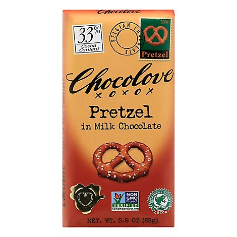 Chocolove Chocolate Bar Milk Chocolate Pretzel - 2.9 Oz