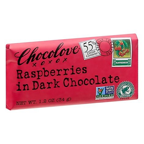 Chocolove Chocolate Bar Mini Dark Chocolate Raspberries - 1.2 Oz