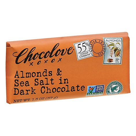 Chocolove Chocolate Bar Dark Mini Chocolate Almonds & Sea Salt - 1.3 Oz