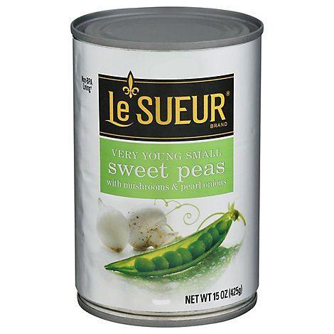 Le Sueur Peas Sweet Very Young Small With Mushrooms & Pearl Onions - 15 Oz