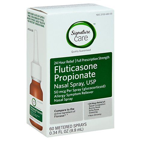 Signature Care Fluricasone Propionate Nasal Spray USP Full Strength - 0.34 Fl. Oz.