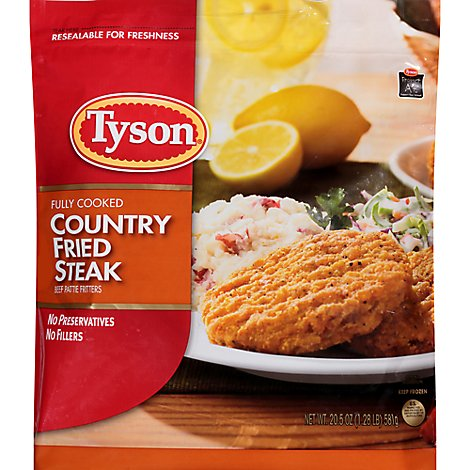 Tyson Fully Cooked Country Fried Steak Patties - 20.5 Oz