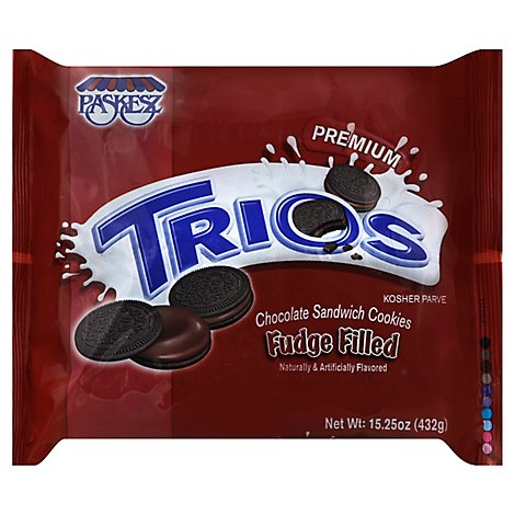 Paskesz Cookies Trios Fudge Flled OREO - 15.25 Oz