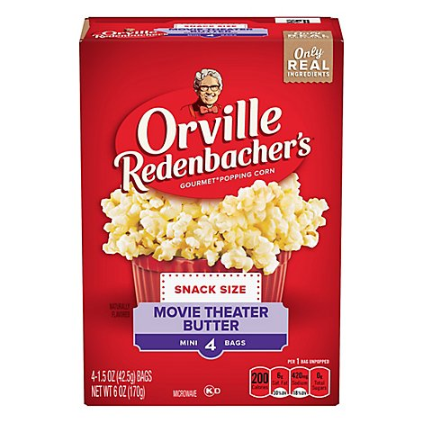 Orville Redenbachers Popping Corn Gourmet Movie Theater Butter Mini Bags - 4-1.15 Oz