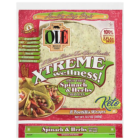Ole Xtreme Wellness! Tortilla Wraps Flour Spinach & Herb Bag 8 Count - 12.7 Oz