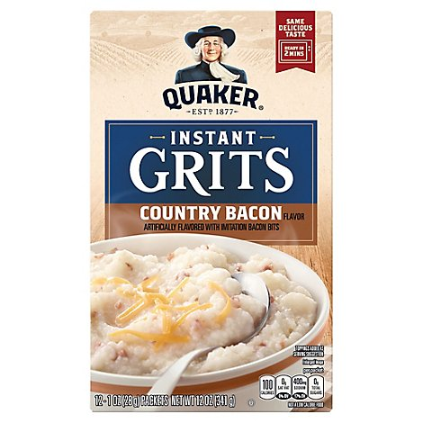 Quaker Grits Instant Country Bacon Flavored - 12-1 Oz