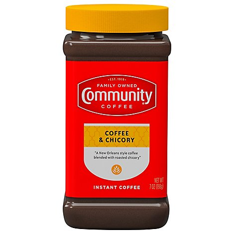 Community Coffee Coffee & Chicory Instant Medium-Dark Roast - 7 Oz