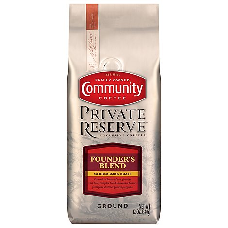 Community Coffee Private Reserve Coffee Ground Medium-Dark Roast Founders Blend - 12 Oz