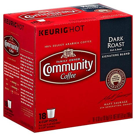 Community Coffee Coffee K-Cup Pods Dark Roast Signature Blend - 18 Count