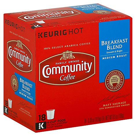 Community Coffee Coffee K-Cup Pods Breakfast Blend - 18 Count