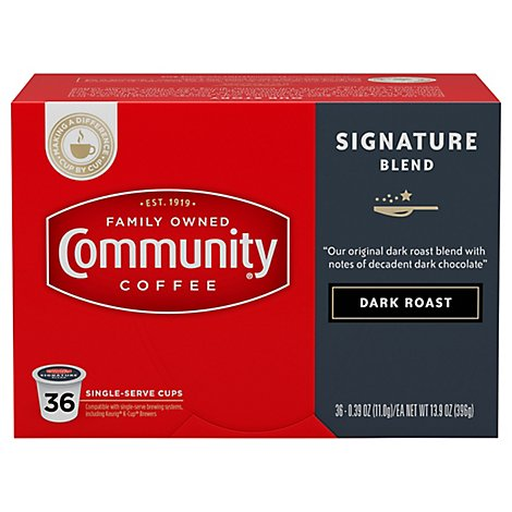Community Coffee Coffee K-Cup Pods Dark Roast Signature Blend - 36 Count