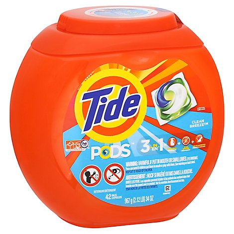 Tide PODS Detergent Pacs Clean Breeze - 42 Count