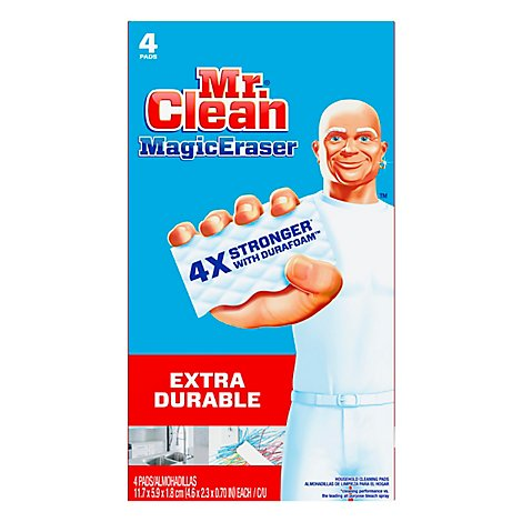 Mr. Clean Magic Eraser Cleaning Pads Extra Durable With Durafoam - 4 Count