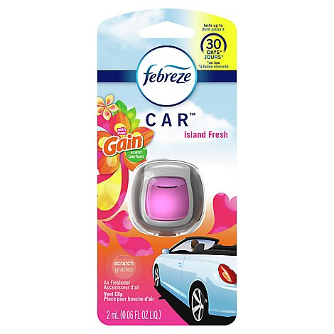 Febreze CAR Air Freshener Vent Clip with Gain Island Fresh Scent - 0.06 Fl. Oz.