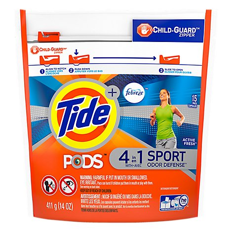 Tide Plus PODS Detergent Pacs 4In1 Febreze Odor Defense Active Fresh - 15 Count