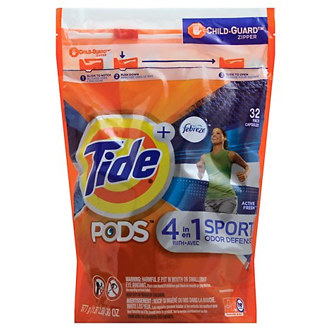 Tide + PODS Detergent 4 in 1 Febreze Odor Defense Active Fresh Pouch - 32 Count