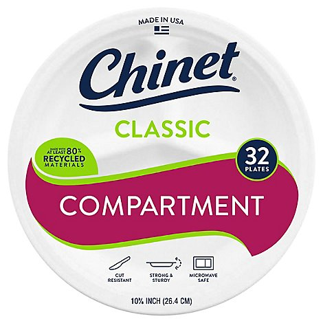 Chinet Dinner Plates Compartment 10 3/8 Inch Classic White Wrapper - 32 Count