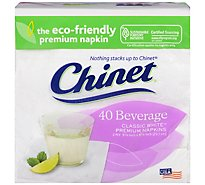 Chinet Napkins Beverage Classic White Wrapper - 40 Count