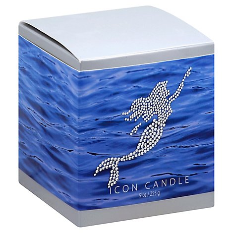 Mermaid Icon Candle In Blue Glass - 9 Oz
