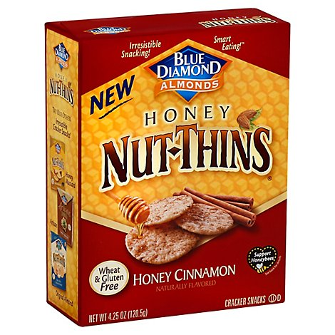 Blue Diamond Nut-Thins Cracker Snacks Honey Honey Cinnamon - 4.25 Oz