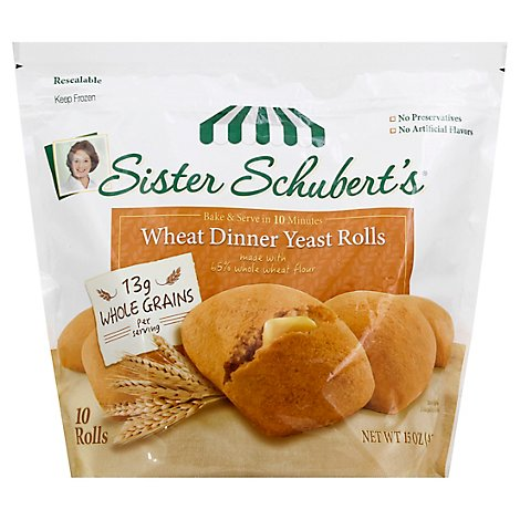 Sister Schuberts Dinner Rolls Yeast Wheat 10 Count - 15 Oz