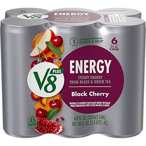 V8 V-Fusion +Energy Vegetable & Fruit Juice Black Cherry - 6-8 Fl. Oz.