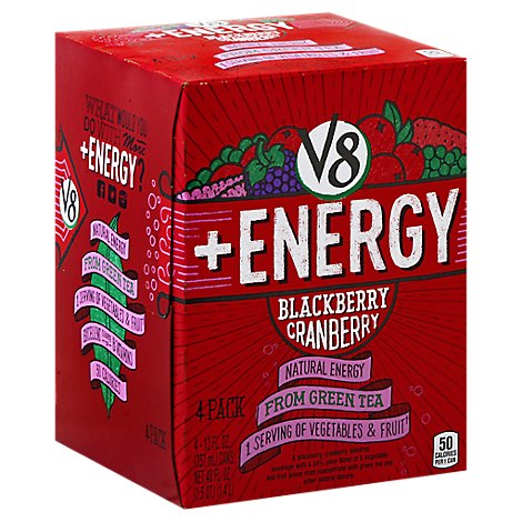 V8 +Energy Flavored Beverage Blackberry Cranberry - 4-12 Fl. Oz.