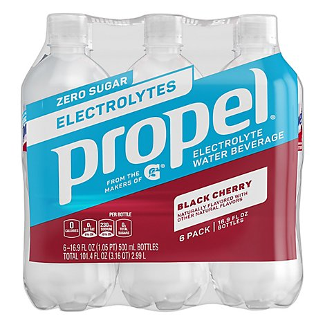 Propel Water Beverage with Electrolytes & Vitamins Black Cherry - 6-16.9 Fl. Oz.