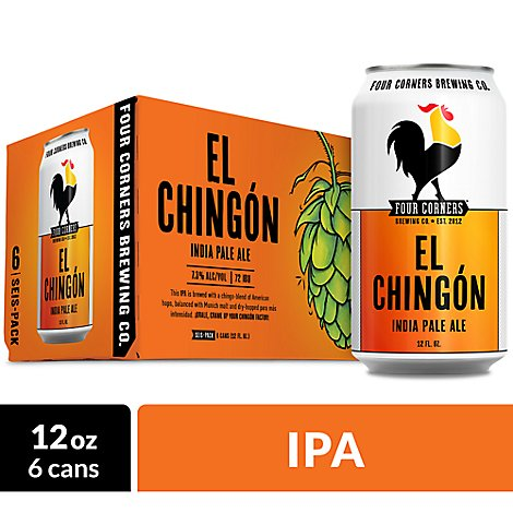 Four Corners El Chingon Ipa In Cans - 6-12 Fl. Oz.