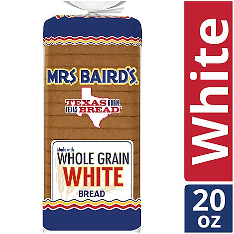 Mrs Bairds Bread Whole Grain White - 20 Oz