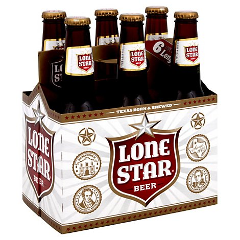 Lone Star Beer Lager Bottles - 6-12 Fl. Oz.