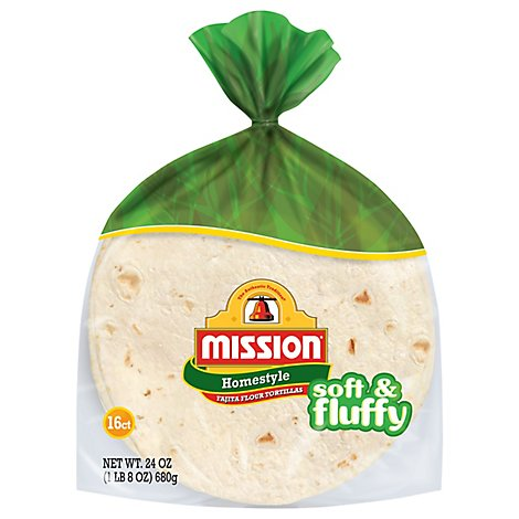 Mission Tortillas Flour Homestyle Soft & Fluffy Fajita Bag 16 Count - 24 Oz