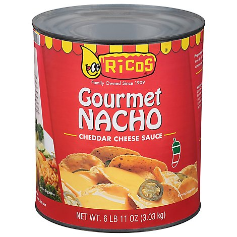 Ricos Sauce Cheese Gourmet Nacho Cheddar Medium Can - 107 Oz