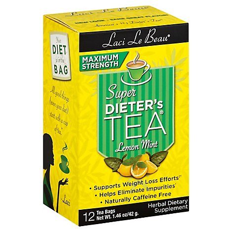 Laci Le Beau Super Dieters Tea Maximim Strength Lemon Mint 12 Count - 1.46 Oz