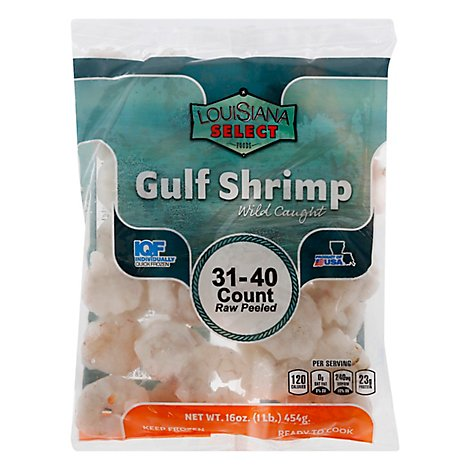 Seafood Counter Shrimp Raw 31-40 Count Peeled & Deveined Gulf Frozen - 1 Lb