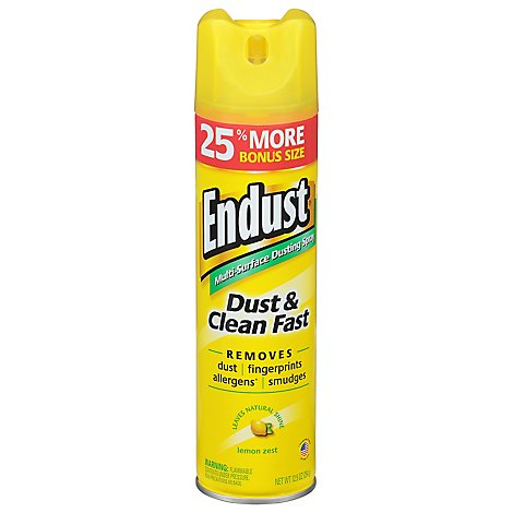 Endust Dusting Spray Multi Surface Natural Shine Lemon Zest - 12.5 Oz