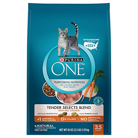One Cat Food Dry Tender Selects Chicken - 3.5 Lb