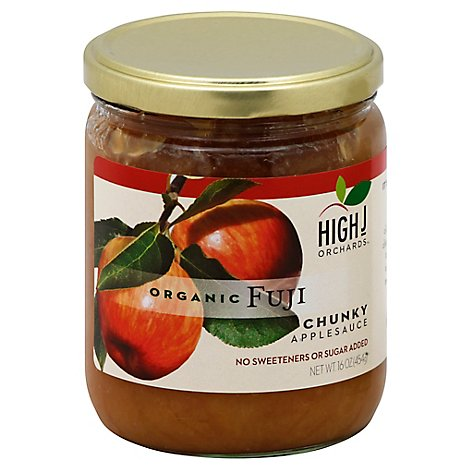 High J Orchards Applesauce Organic Chunky Fuji No Sugar Added - 16 Oz