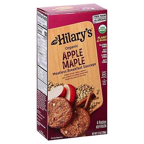 Hilarys Breakfast Sausage Patties Veggie Apple Maple 4 Count - 7.3 Oz