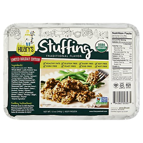 Hilarys Eat Well Stuffing Traditional Flavor Tray - 12 Oz