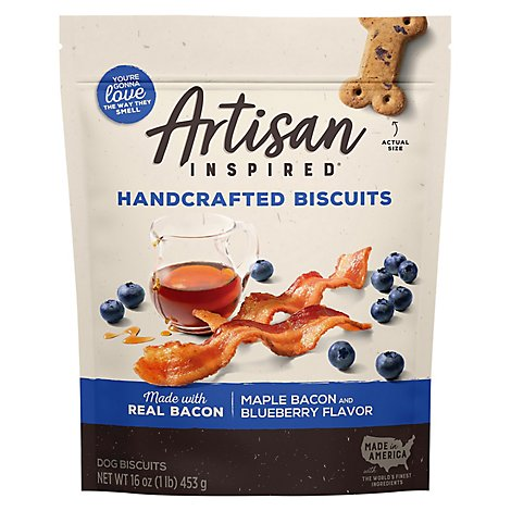 Vita Bone Artisan Inspired Biscuits Soft Dog Treats Maple Bacon & Blueberry Flavor Pouch - 16 Oz