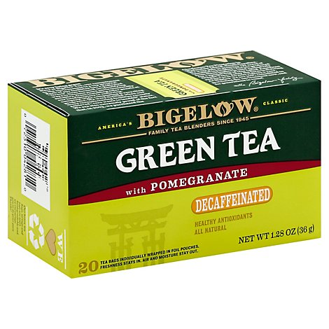 Bigelow Tea Bags Green With Pomegranate Decaffeinated 20 Count - 1.28 Oz