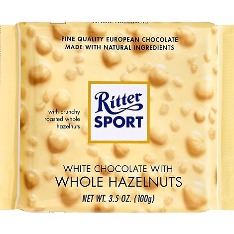 Ritter Sport White Chocolate With Whole Hazelnuts - 3.5 Oz