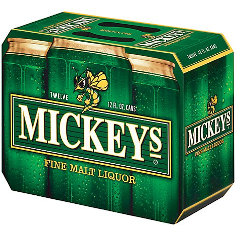 Mickeys Fine Malt Liquor Ale Beer Cans 5.6% ABV - 12-12 Fl. Oz.