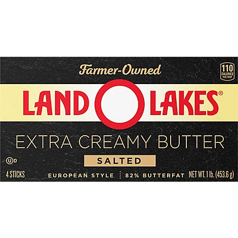 Land O Lakes Butter Super Premium Sweet Cream Salted European Style Sticks - 4 Count